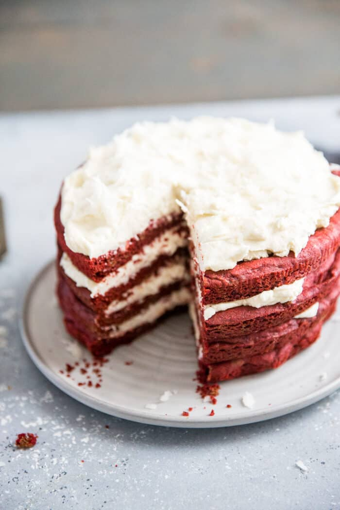 red velvet cake with a slice out