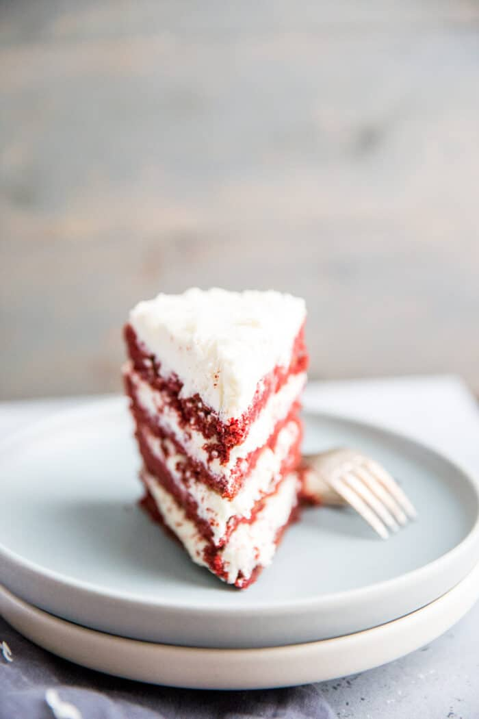 upright slice red velvet cookie cake