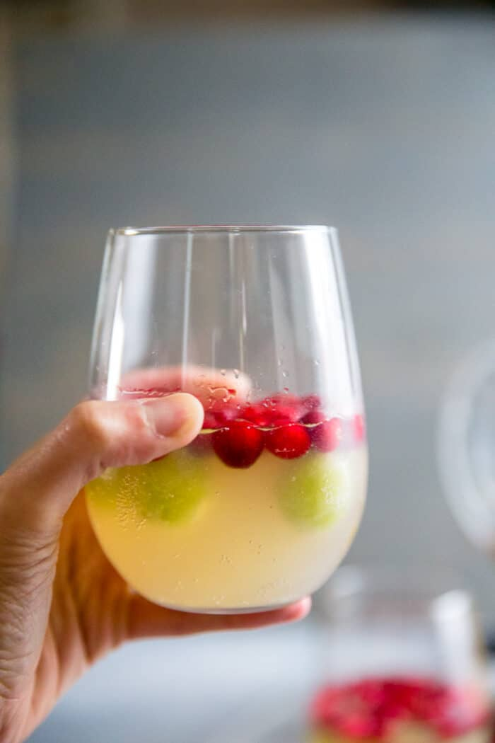 white wine sangria glass held