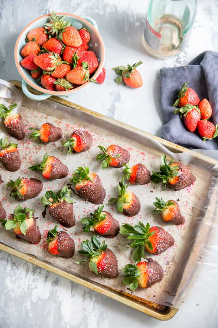 tray of chocolate covered strawberries
