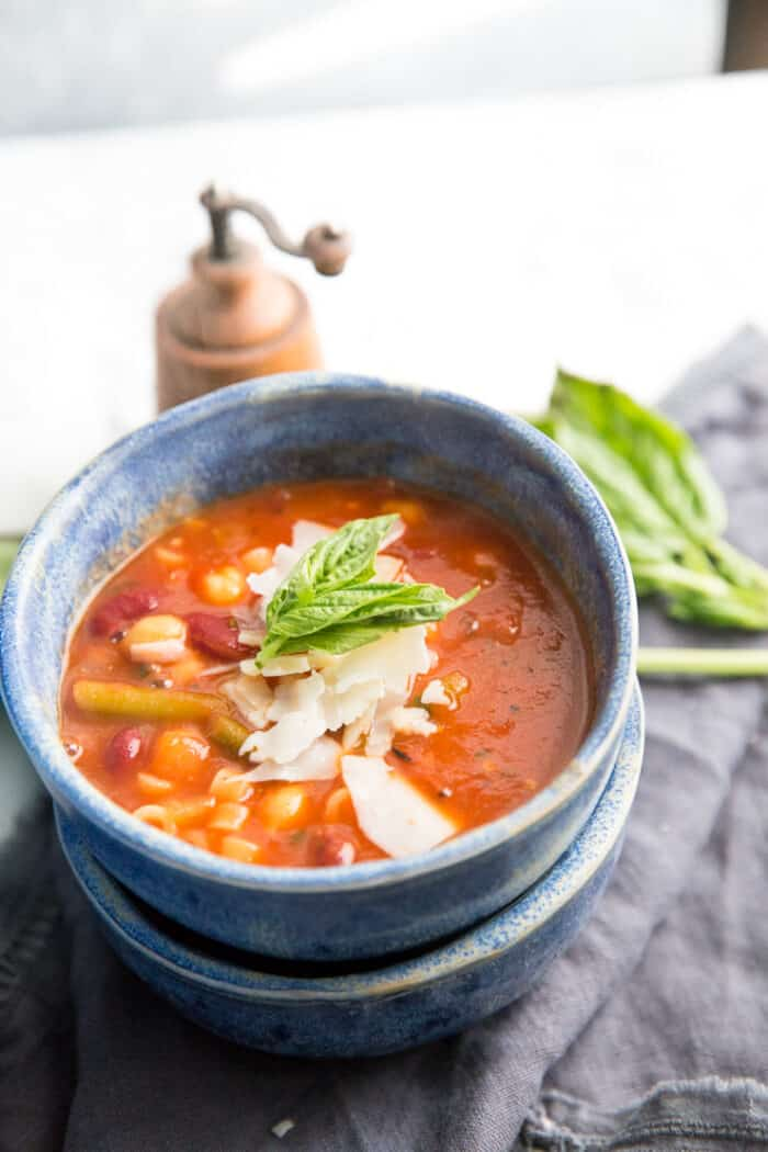 minestrone soup blue bowl