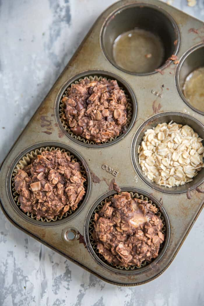 3 chocolate chip muffins in a tin