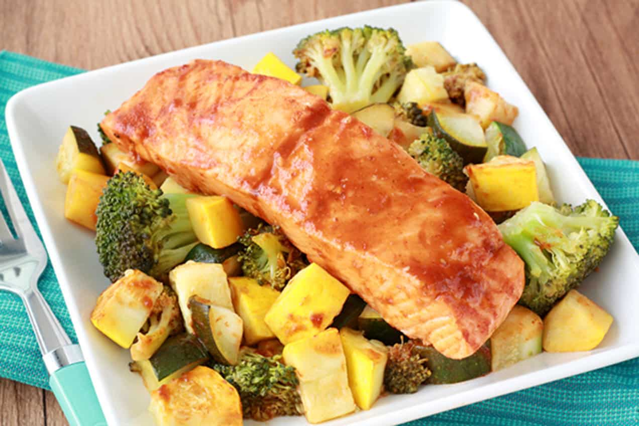 Cooked salmon with veggies