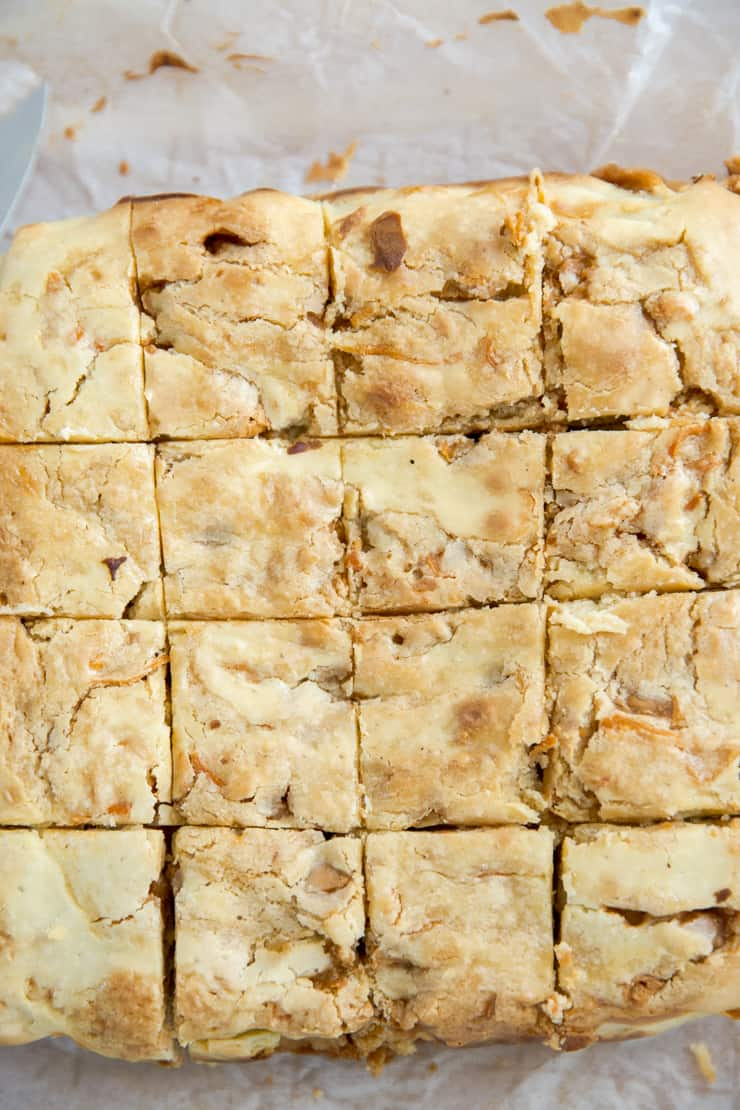 whole blondie brownies cut into squares