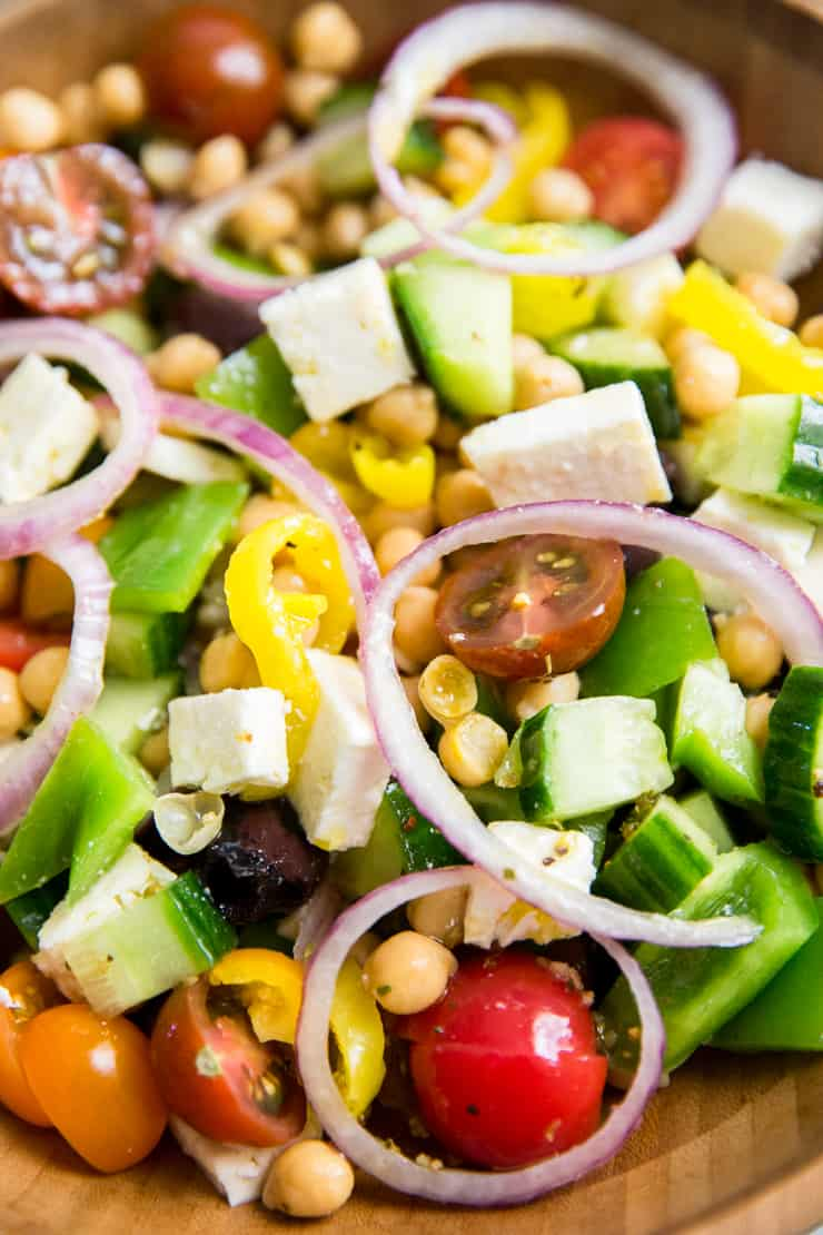 Greek salad with red onion slices