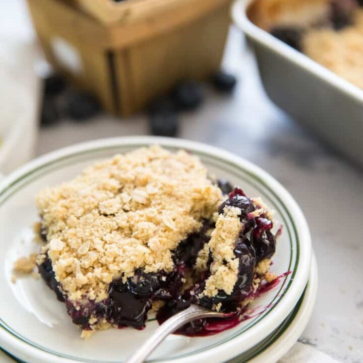 blueberry oatmeal bars with a fork