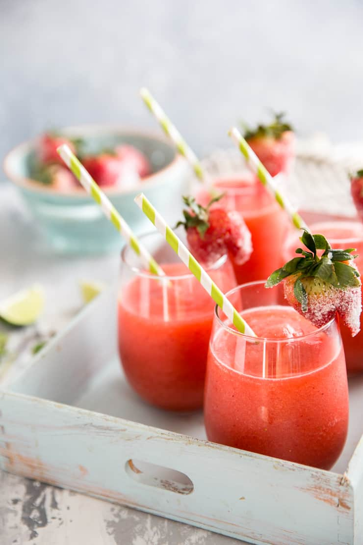 strawberry daiquiri with straw