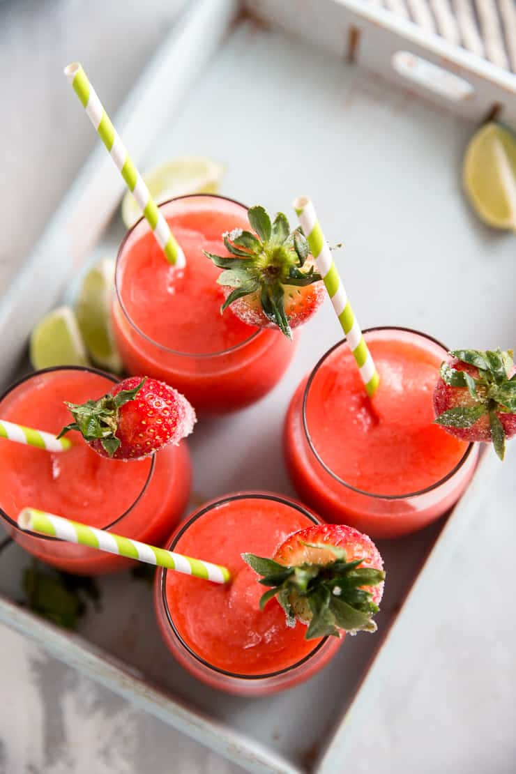 4 strawberry daiquiris