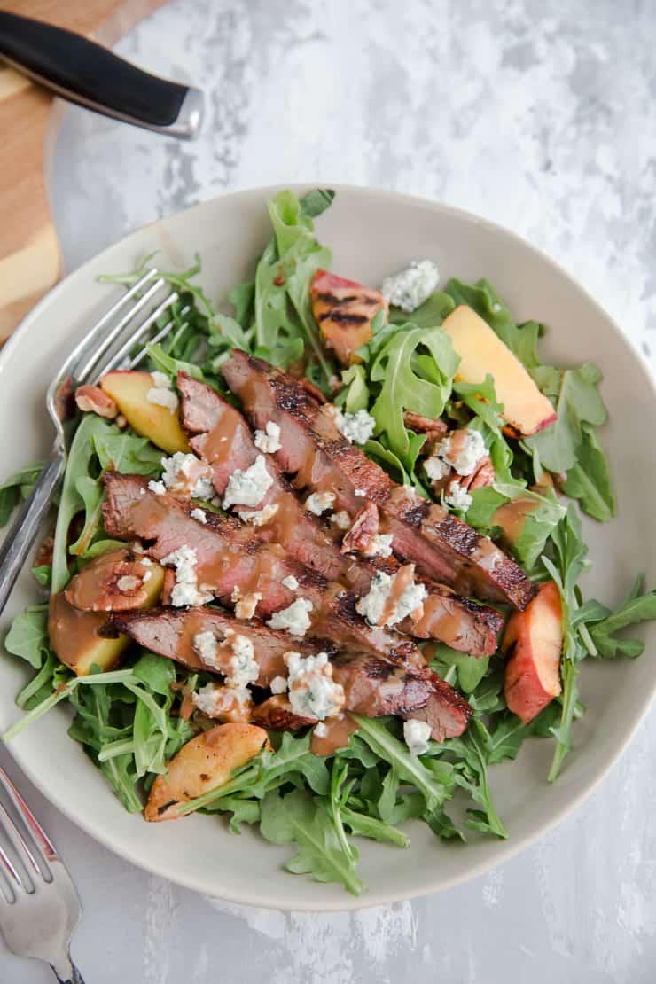 dressed black and blue steak salad