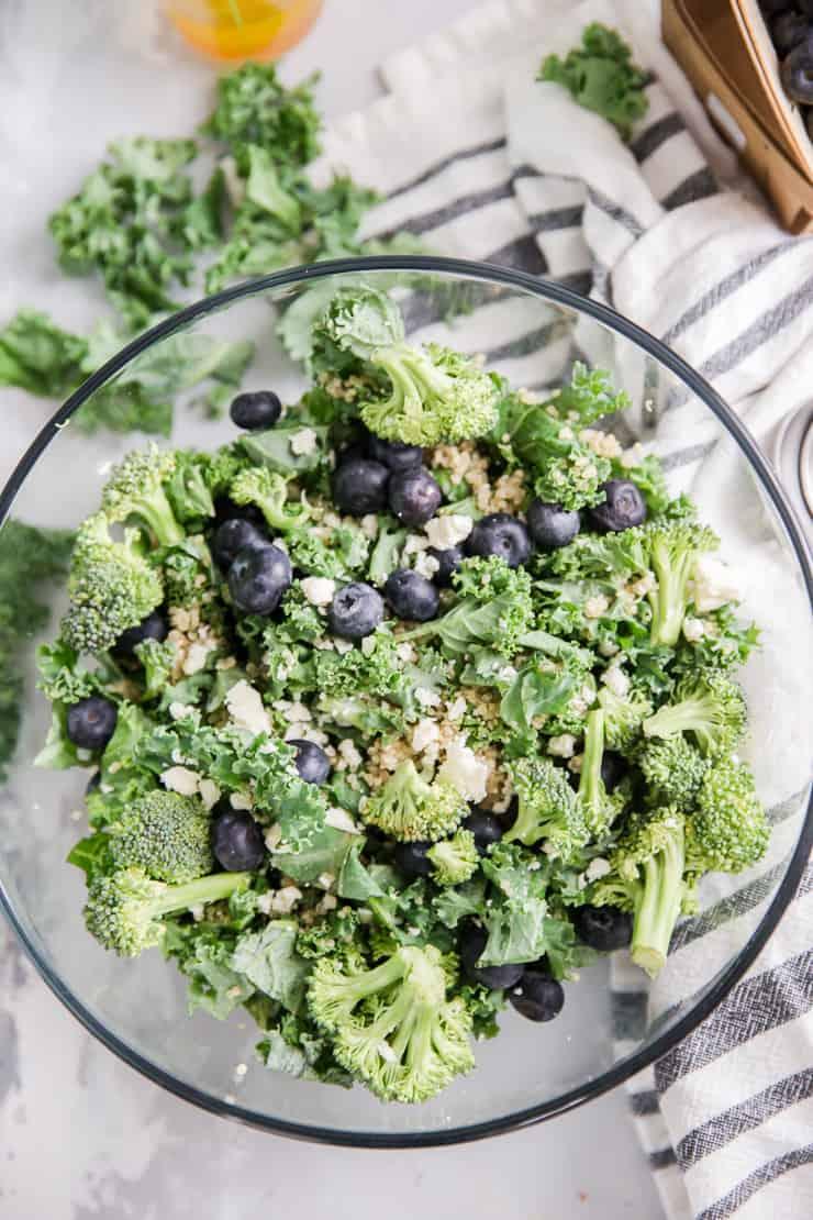 quinoa salad in a clear bowl