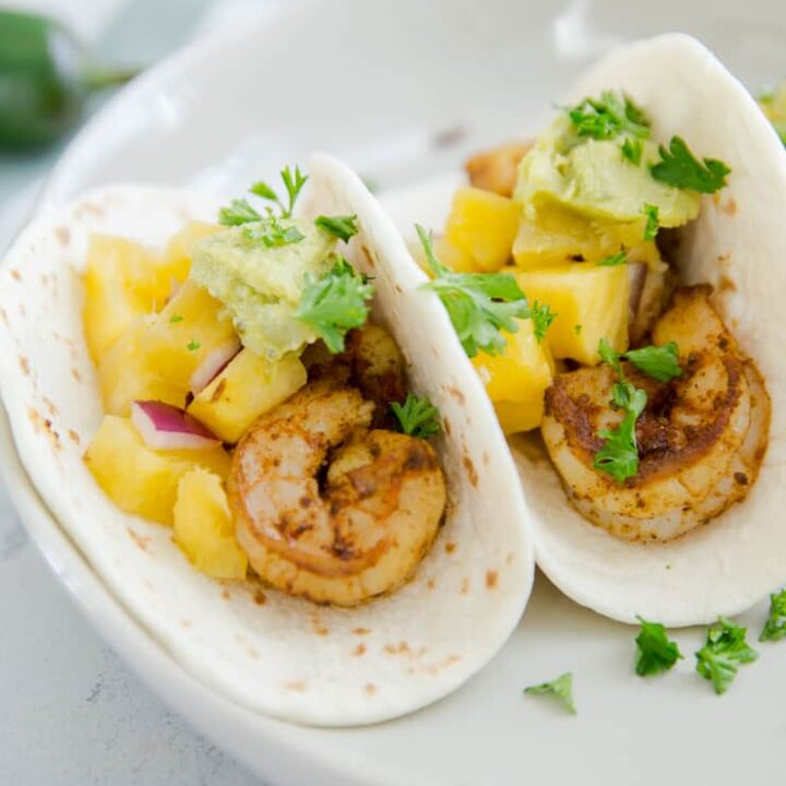 shrimp tacos with fruit