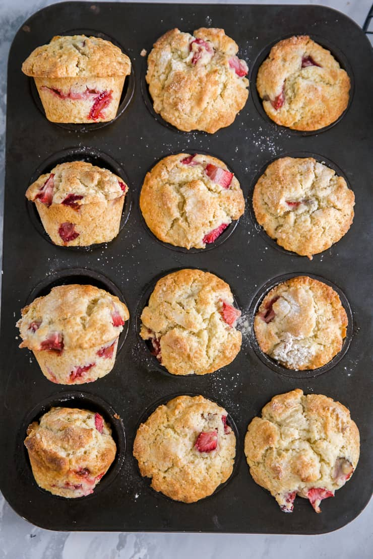 muffins in different positions in a muffin tin