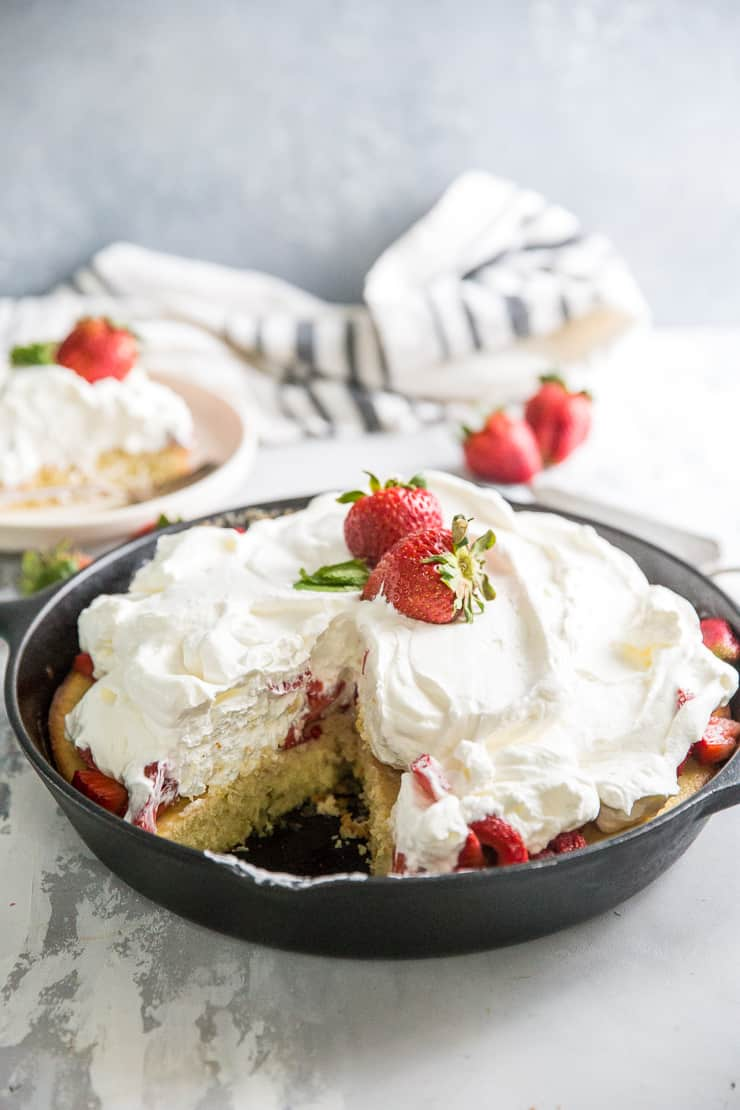 strawberry shortcake cake in a skillet