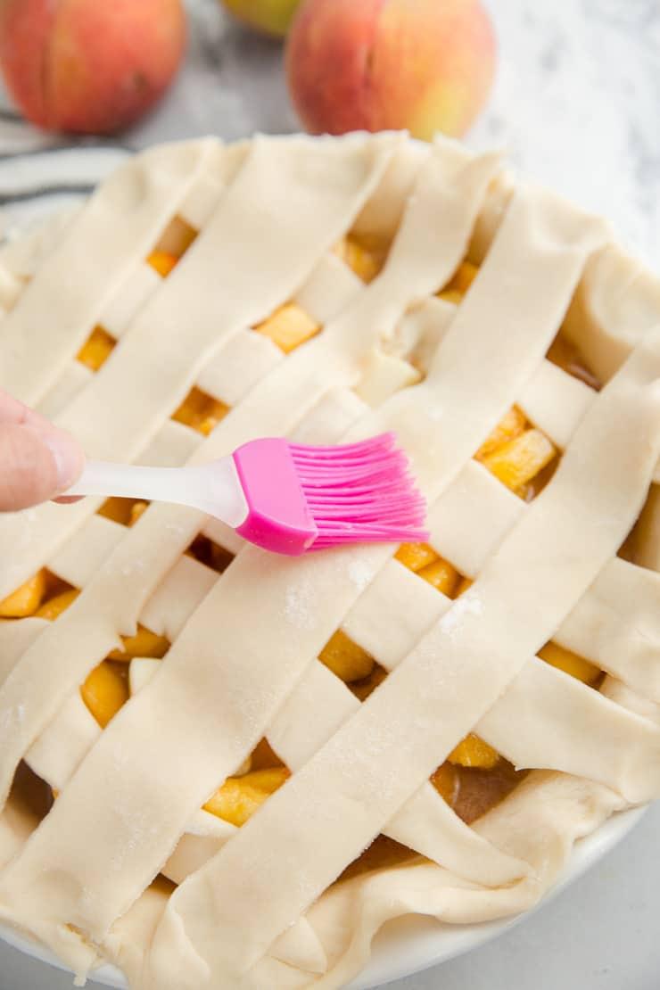 egg wash on peach pie