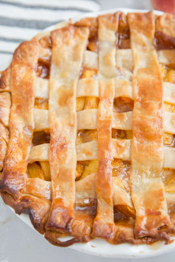 whole baked peach pie