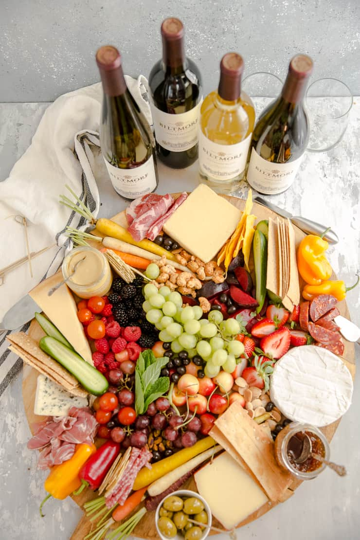 charcuterie board with wine