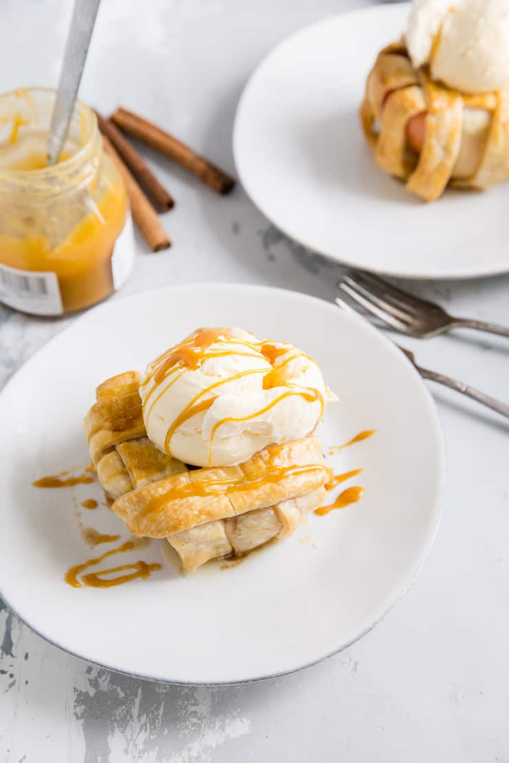 baked apple with ice cream and caramel drizzle