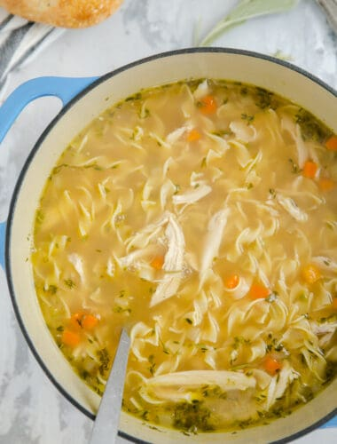 pot of homemade chicken noodle soup