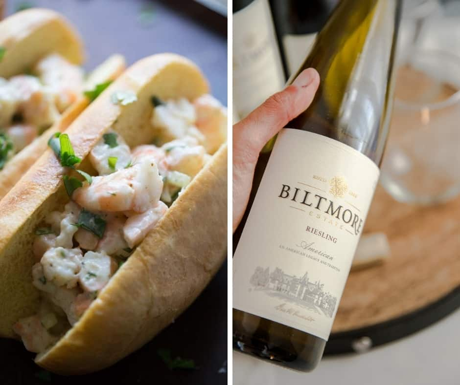 shrimp roll and wine