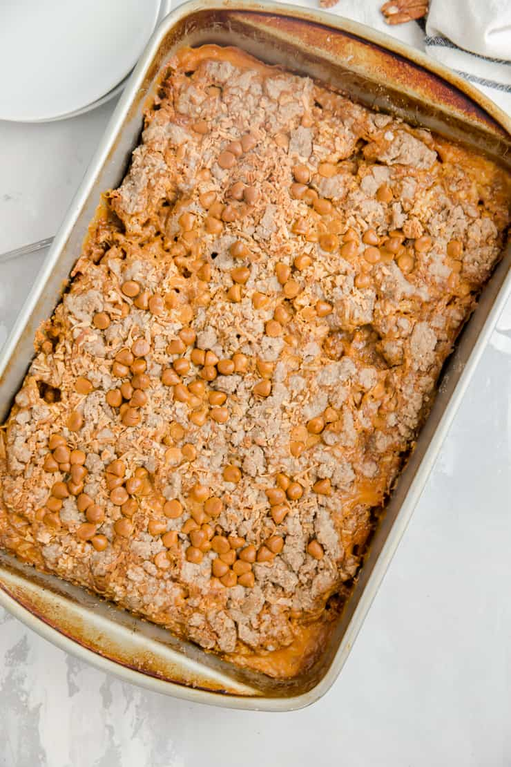pumpkin dump cake whole in a pan