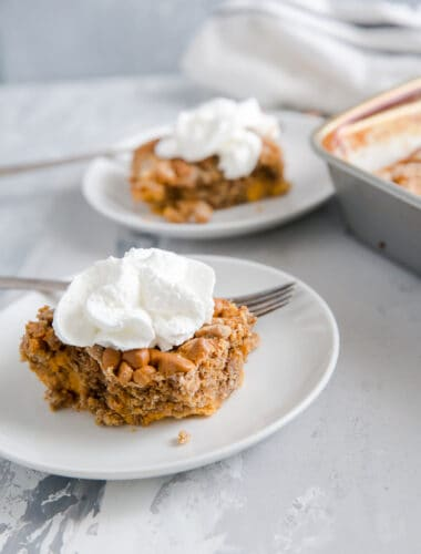 slice of pumpkin dump cake