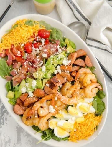 whole creole shrimp cobb salad