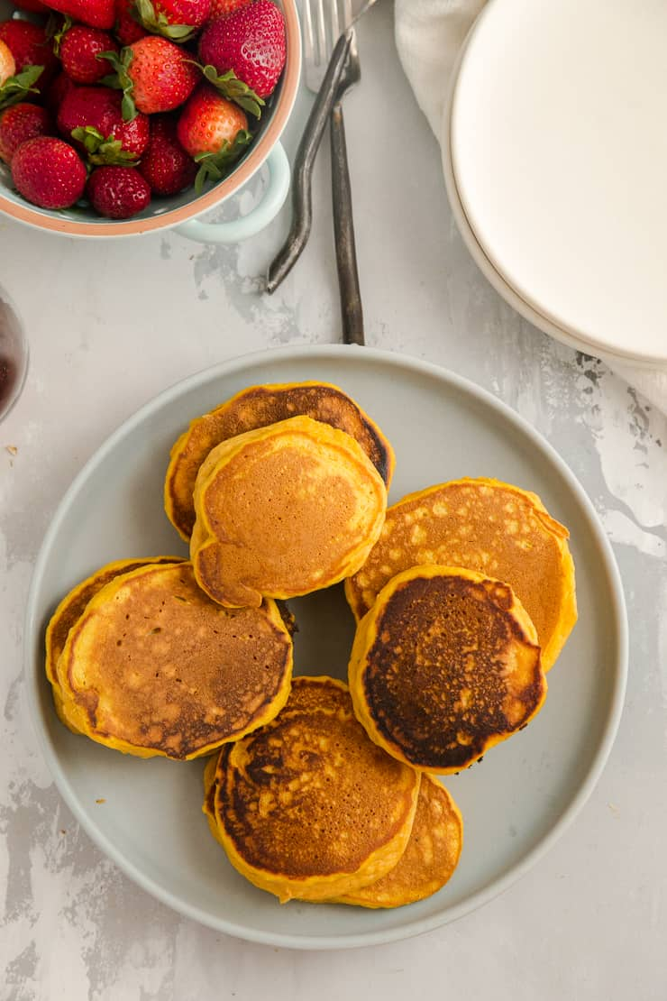 plate of plain pumpkin pancakes