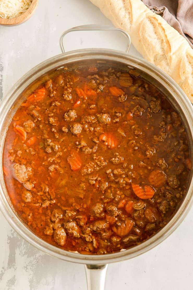 ragu sauce in a skillet