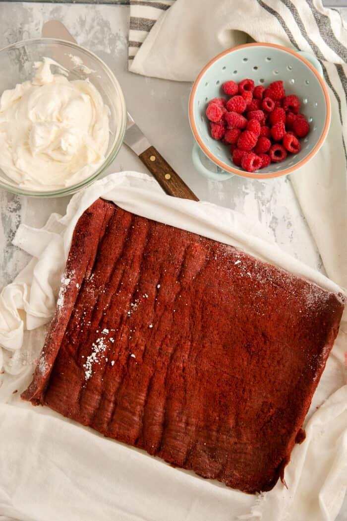 naked unrolled red velvet cake roll