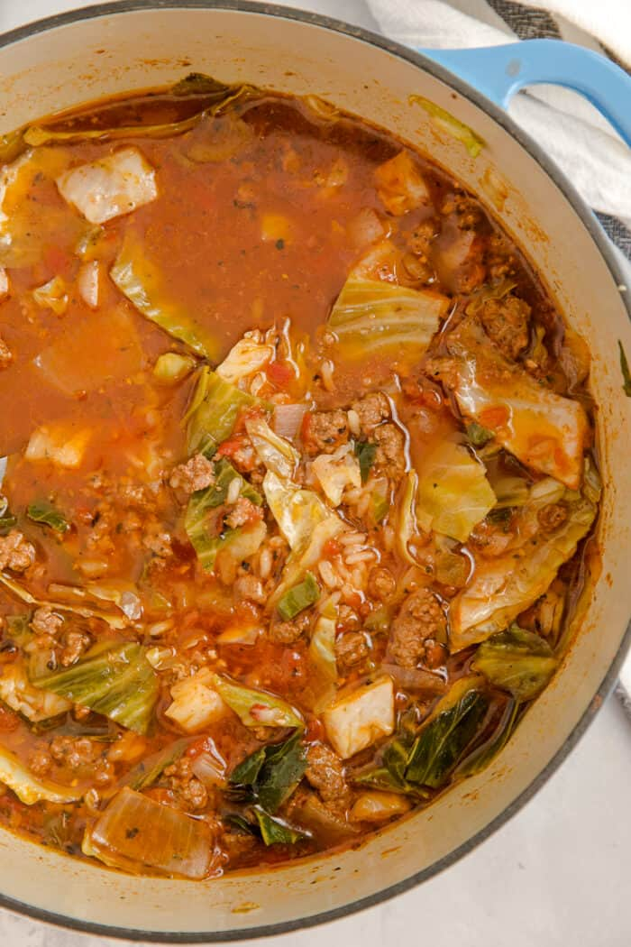 cabbage roll soup; whole pot