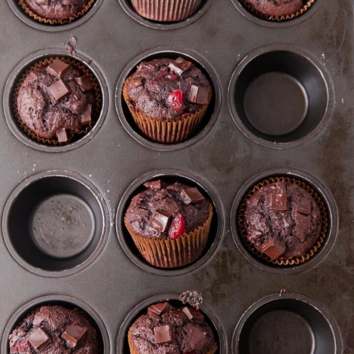 double chocolate chip muffins with cherries