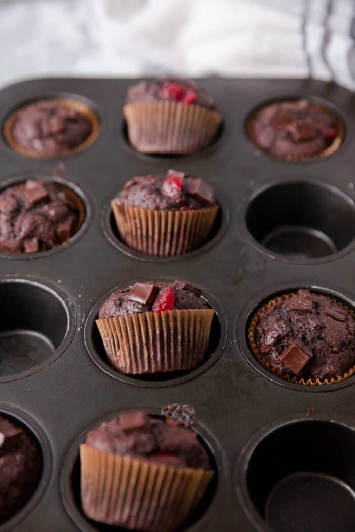 chocolate chip muffins with cherries