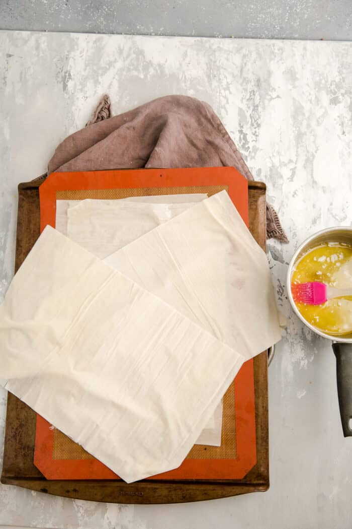 phyllo sheets on a baking sheet