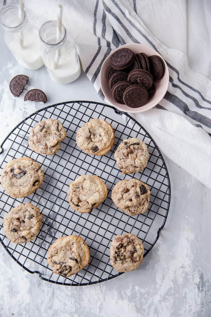 cookies and cream cookies arranged on a round baking rack