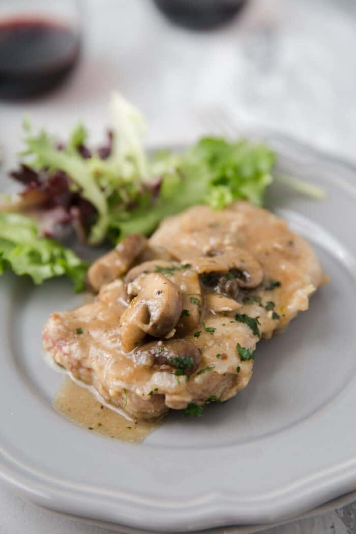 veal marsala cutlet on a plate