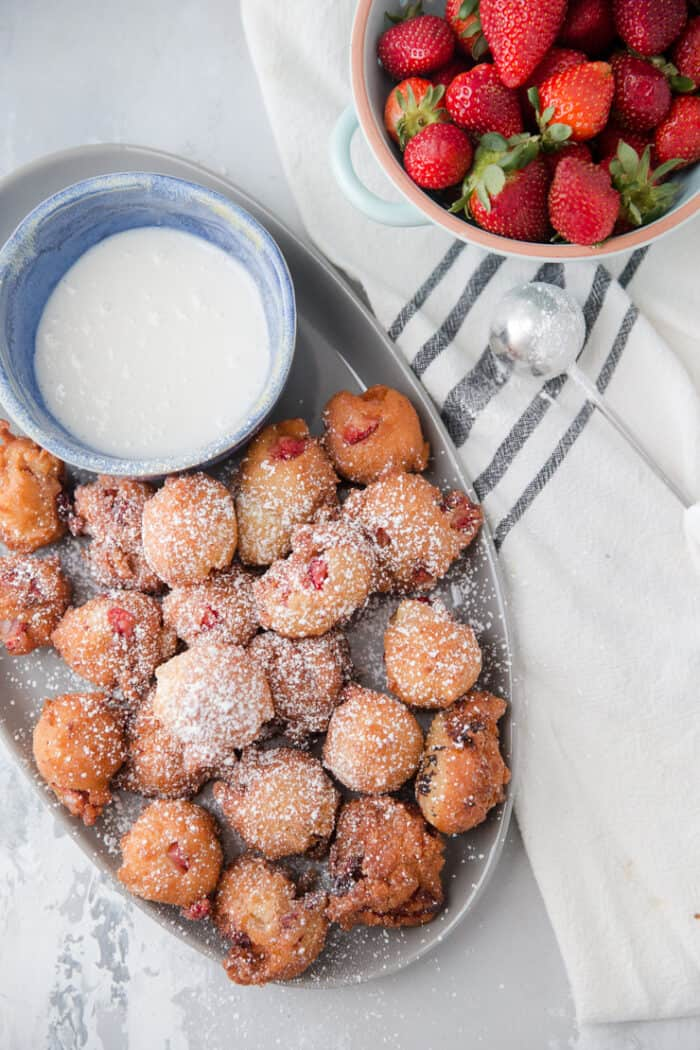 strawberry fritters with dipping sauce