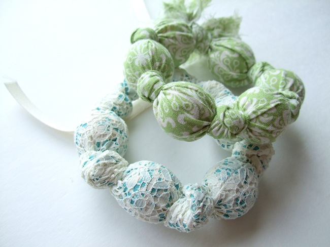 Fabric Covered Wood Beads Bracelet