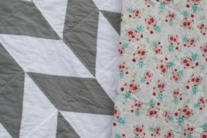 Gray and White Herringbone Quilt