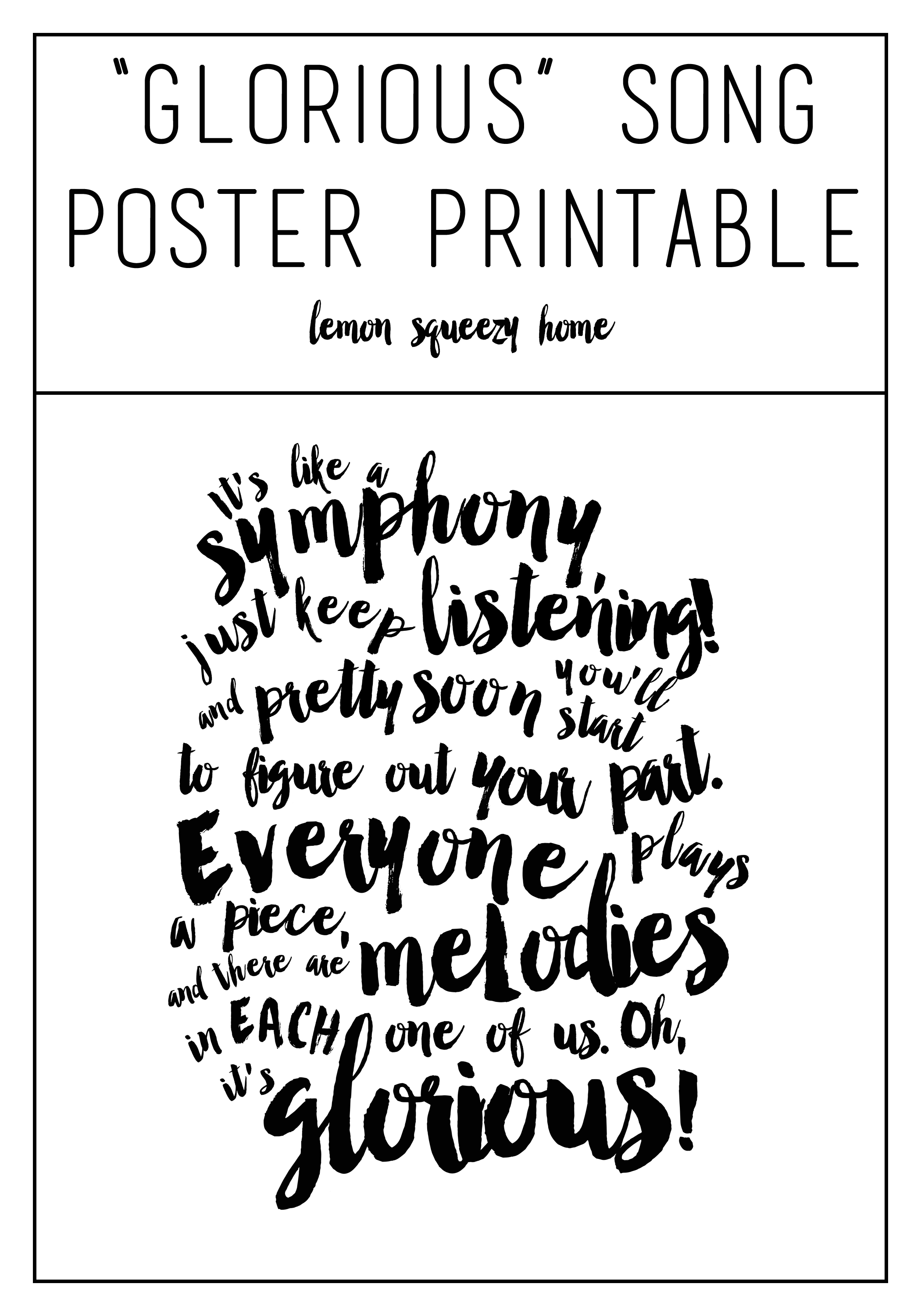 Glorious Poster Print {Free Printable} // lemon squeezy home