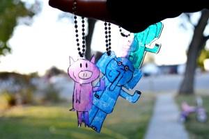 Elephant and Piggie Shrinky Dink Keychains