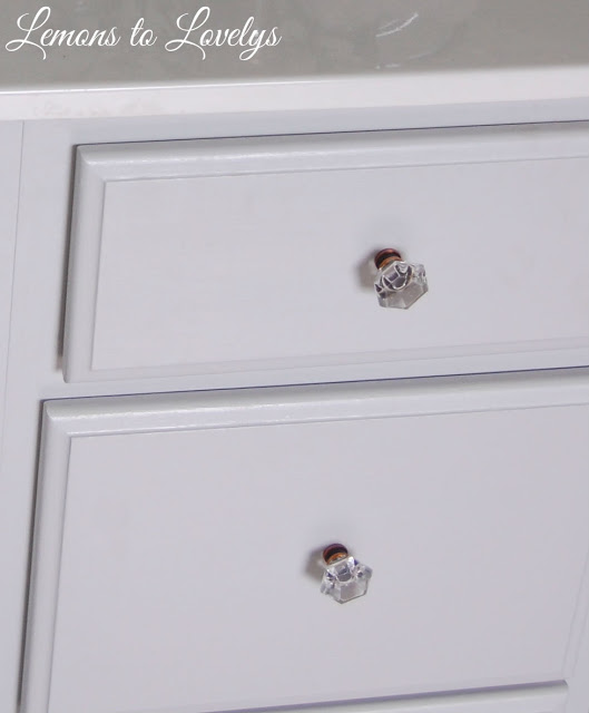Bathroom Cabinet Makeover- Paint color Stonington Gray by BM. See more photos on lemonstolovelys.blogspot.com