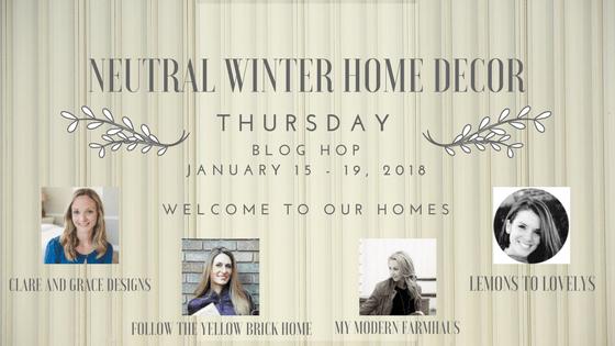 Neutral Winter Home Decor Blog Hop www.lemonstolovelys.com