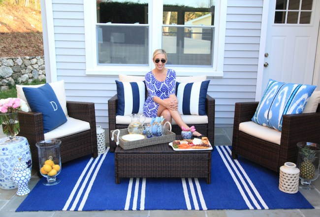 Blue and white patio by Wayfair