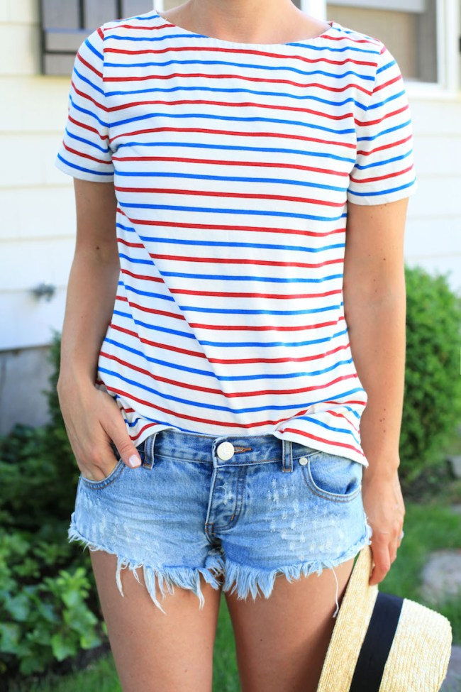 Stripes and Ripped Denim