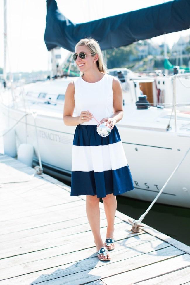 Julia Dzafic in navy and white
