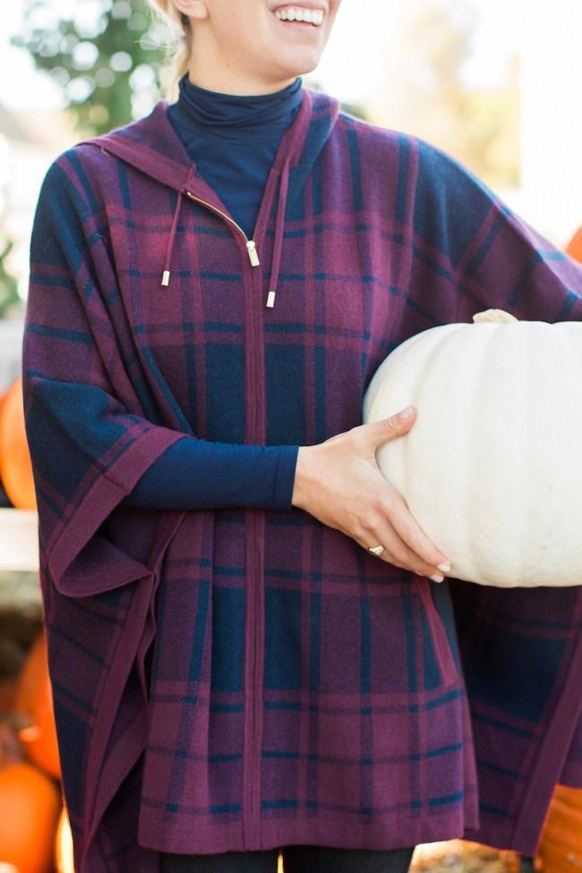 Plaid hooded poncho