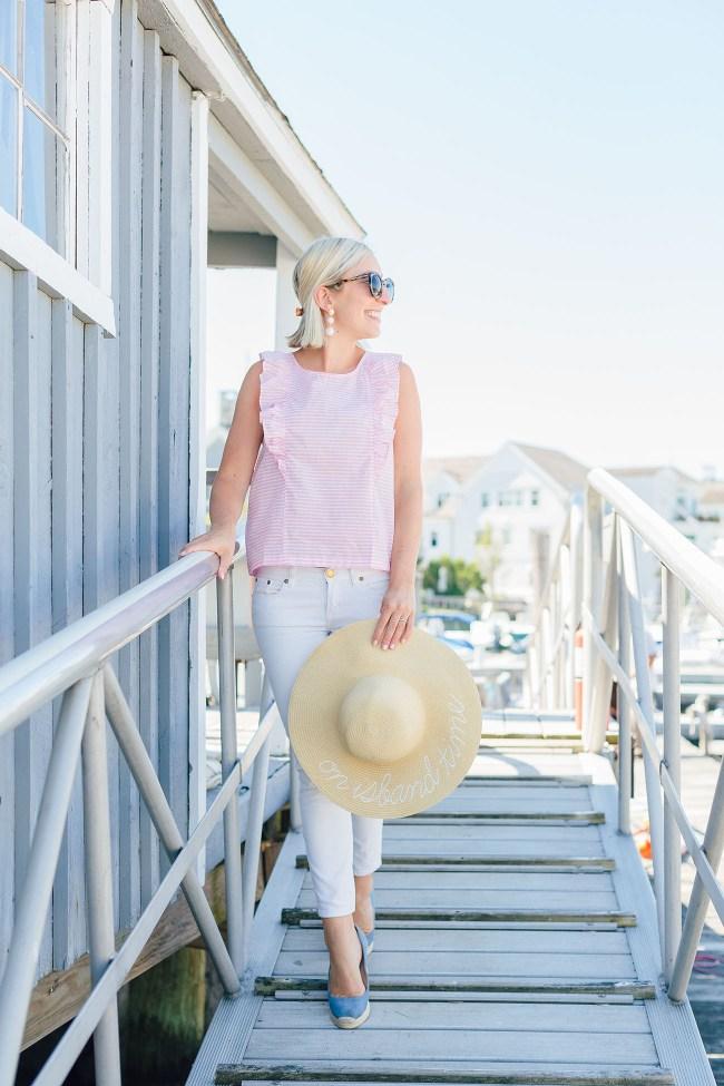 Julia Dzafic J Crew Factory Pink and White Stripe Top