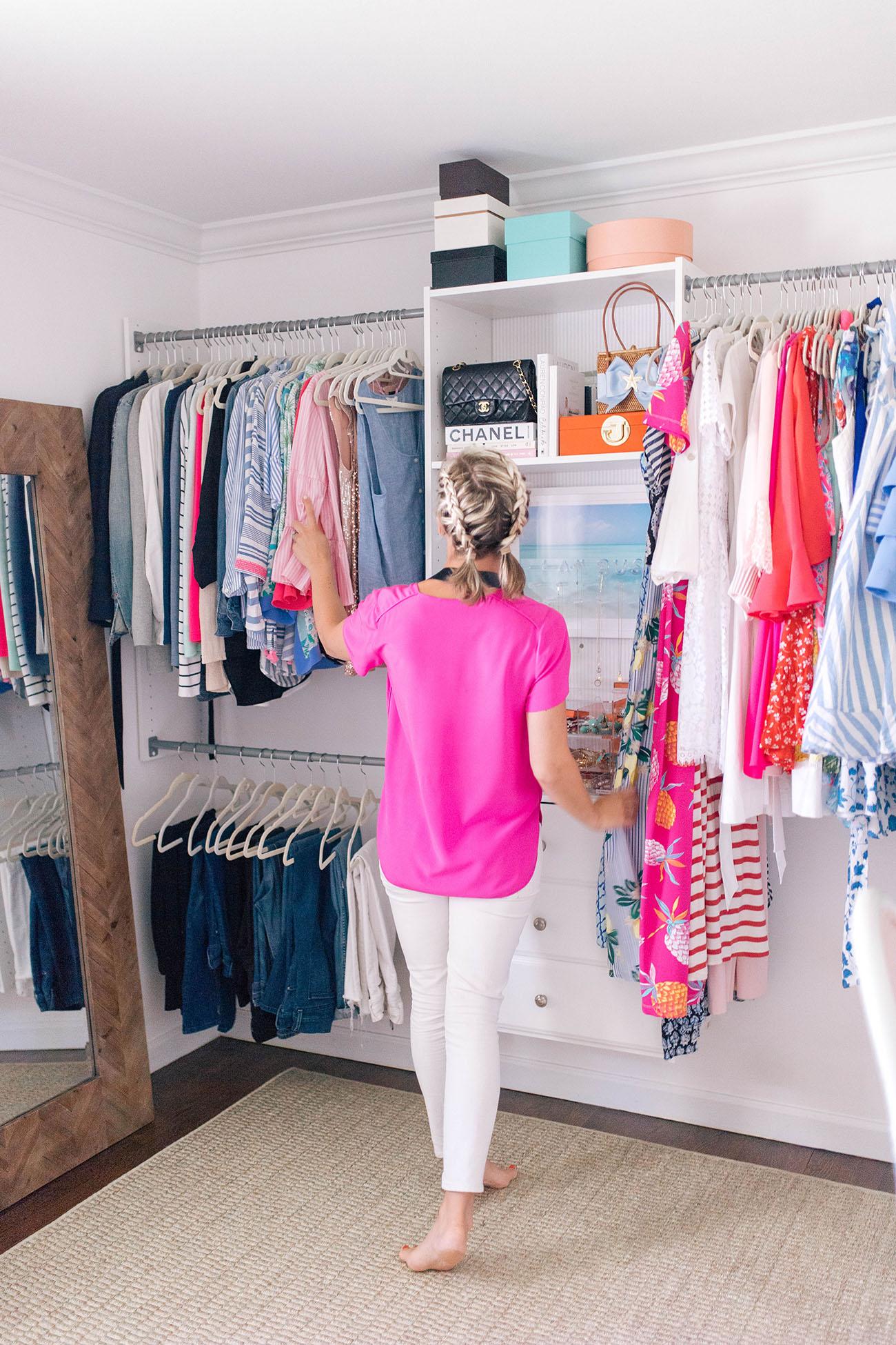 Merveilleux Similar Pink Silk Shirt / J.Crew White Jeans / Fairchild Baldwin Necklace /  Home Depot Closet System