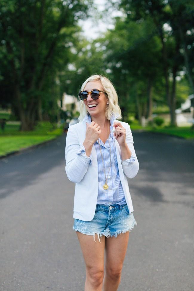 Lemon Stripes in a Theory blazer and One Teaspoon shorts