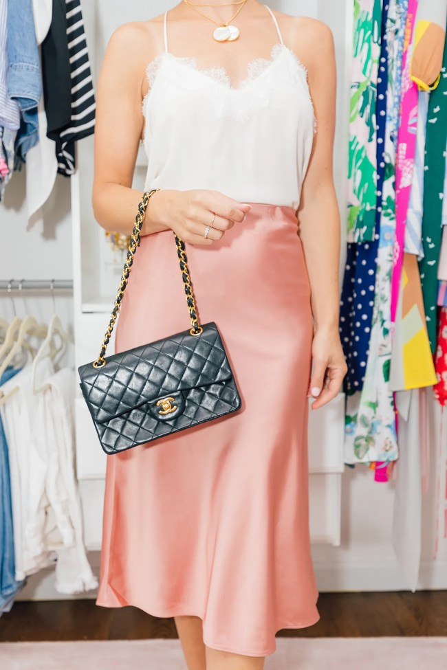 Julia Dzafic of Lemon Stripes in a J.Crew Slip Skirt and Chanel Bag